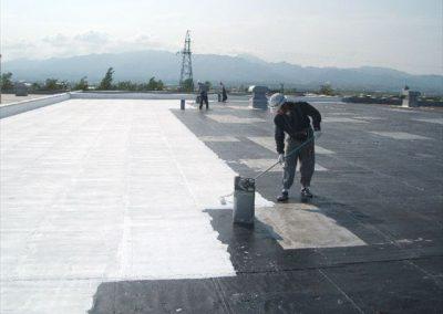 屋上アスファルト防水の遮熱塗装