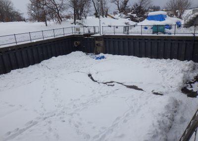 農業用水貯水池の鋼矢板塗替え工事